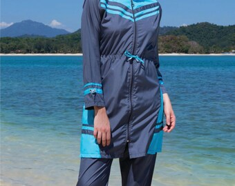 2016 Adabkini Simge, Top seller Islamic Swimsuit design, 4-piece with swimming cap included