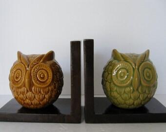 Ceramic Owl Bookends, Pair