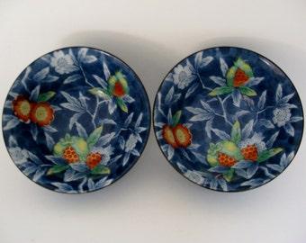 Porcelain Bowls w/ Pomegranates, Pair