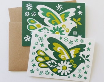2 x Christmas Cards Dove of Peace Scandinavian Folk Art Retro 70s Eastern European Traditional