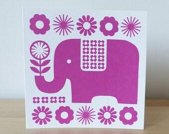 Retro 70s Elephant Pink Scandinavian Greeting Card Flowers Swedish Hand-pulled Screen Print