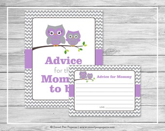 Owl Baby Shower Advice for Mom Cards - Printable Baby Shower Advice Cards - Purple Owl Baby Shower - Owl Shower - Advice for Mom - SP136