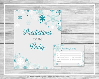 Winter Wonderland Baby Shower Predictions for Baby - Printable Baby Shower Predictions for Baby - Winter Wonderland Baby Shower - SP114