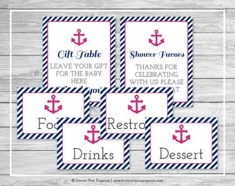Nautical Baby Shower Table Signs - Printable Baby Shower Table Signs - Navy Pink Baby Shower - Table Signs - Shower Signs - EDITABLE - SP119