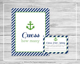 Nautical Baby Shower Guess How Many Game - Printable Baby Shower Guess How Many Game - Navy Green Baby Shower - Guess How Many Game - SP120