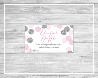 Pink and Silver Baby Shower Diaper Raffle Insert - Printable Baby Shower Diaper Raffle Cards - Pink and Silver Glitter Baby Shower - SP123