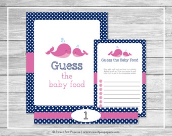 Whale Baby Shower Guess The Baby Food Game - Printable Baby Shower Guess Baby Food Game - Pink Whale Baby Shower - Baby Food Game - SP128