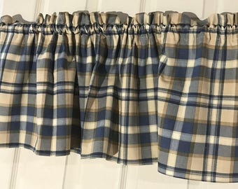 Tan And Blue Country Primitive Plaid Curtain Valance