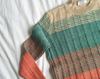 the Glitch in Peach -knitted sweater (multi coloured cable knit plait pullover)