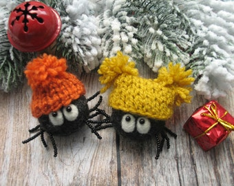 Christmas spiders hats, needle felting, Christmas gift