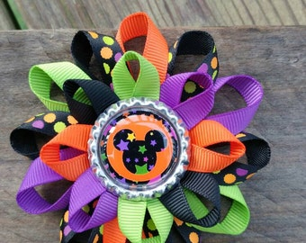 Halloween hair bow, Halloween bow, Minnie hair bow, Minnie mouse bow, hair bow, bow, Disney hair bow, Minnie Halloween bow, Halloween