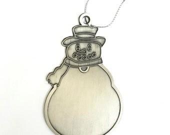 SALE 1 Piece Silver Plated Brass Snowman Christmas Ornament