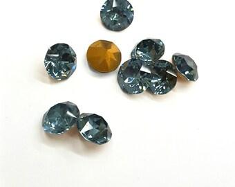8 Pieces Swarovski Indian Sapphire, Dentelle, Vintage, 40ss Round