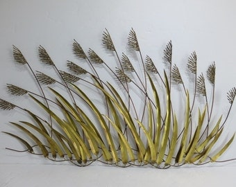 Mid-Century Modern Brass Wheat Wall Sculpture In The Manner Of: Curtis Jere.
