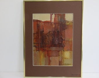 Doris Hyland Mid-Century Modern Acrylic Abstract Painting On Board Signed On The Painting And Again On The Mat.