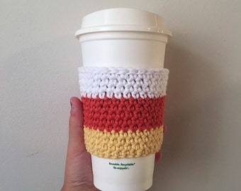 Candy Corn Crochet Coffee Cozy -- Gifts Under 10