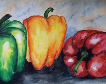 """Original Watercolor  Painting  11""""x15"""" handmade"""