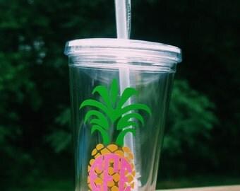 Pineapple Monogrammed Tumbler Cup!
