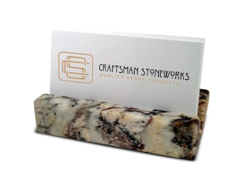 Business Card Holder - Multi-Color Granite - Office Desk Home, Recycled Granite, Recycled Stone