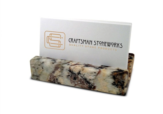 Business card holder multi color granite office desk home like this item reheart Images