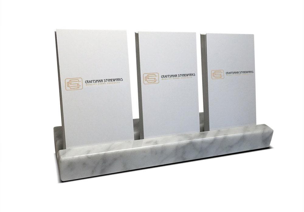 Multiple verical business card holder white carrara marble for Marble business card holder