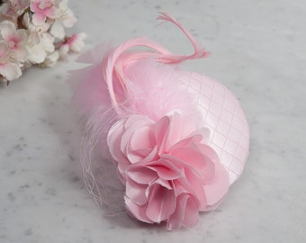 SALE - Fascinator light pink satin