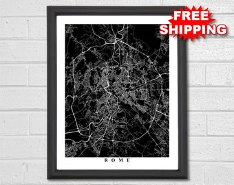 Rome Streets Map Art - Map Print - City Map Art - Black & White Collection