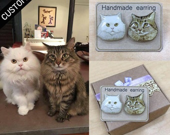CUSTOM PET PORTRAIT - Pet Stud Earrings Custom Pet Earrings Cat Stud Earrings Custom Earrings Resin Earrings Gift Idea Custom Jewelry