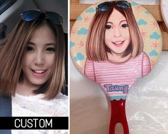Custom Portrait - Hand Mirror with Painted Portrait/Unique Gift with Hand Painted/Handcraft Hand Mirror/Gorgeous hand painting mirror/Gifts