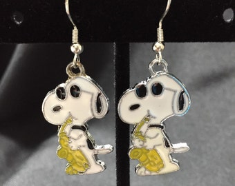 Snoopy with saxophone Earrings