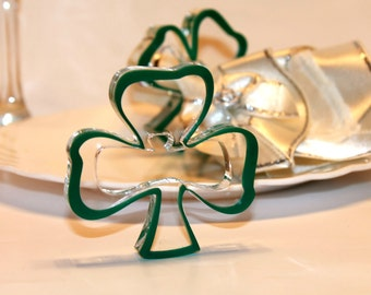St patricks decor etsy green napkin rings green shamrocks ornament irish wedding decorations st patricks day party gift for him junglespirit Images