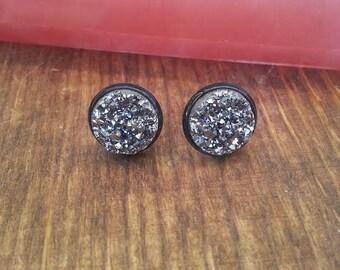 Druzy Silver Stud Earrings Black Studs Gypsy Jewelry