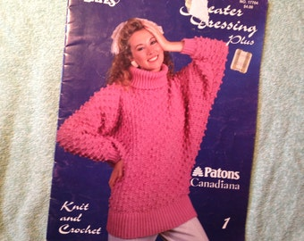 Knit Crochet 8 Woman's Sweaters. Bust 32-40. Susan Bates No. 17704