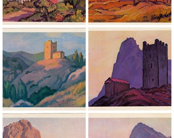 Set of 15. Soviet Postcards. The Genoese fortress of Sudak, Artist Zecevich. Fine art. Printed in Moscow, 1980