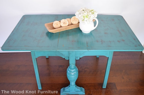 Farm style teal green dining table kitchen table hand for Teal kitchen table