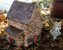 Ceramic Fairy Garden House with Shingle Style Roof BFH0120