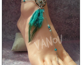 dream Catcher, brown turquoise foot jewelry