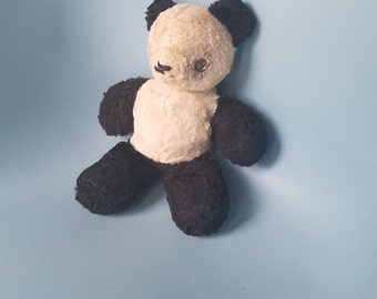 VIntage Toy Panda; Gund Panda Bear; Black and White Bear; Vintage from 1950's; Mid Century Toys