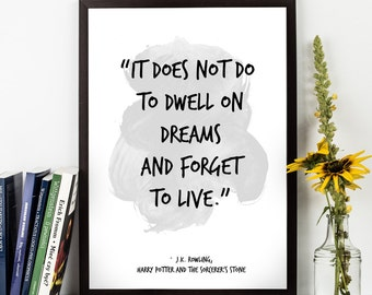 It does not do  (...), J.K. Rowling, Harry Potter Watercolor Poster,  J.K. Rowling Wall art quote,