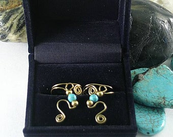 SALE - Turquoise and Bronze Brass Spiral Ear Cuffs