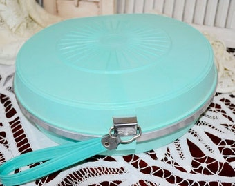 Vintage A. F. Dormeyer Maid- Rite Portable Electric Hair Dryer in Greenish-Blue Case