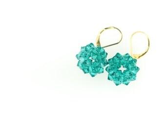 Turquoise Ball Earrings, Swarovski crystals, Beads work