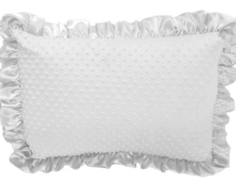 White Minky Dot Ruffled Pillow Sham Pillow Cover Pillowcase Pillow Case with White Satin Trim, Soft Minky Pillow Sham Cover Standard Size