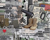 "US Army Scrapbook Kit - ""Army of One"" digital scrapbooking kit for soliders, military, and Army scrapbook projects in desert colors"