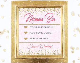 Bridal Shower Game Sign - Mimosa Bubbly Bar Sign - CORAL and GOLD - Instant Printable Digital Download - Birthday Party Printable
