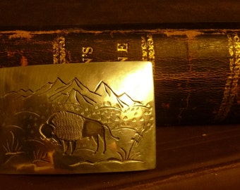 "Sterling Silver Grazing ""Last Buffalo"" Belt Buckle Hand Made Silversmith Artist"