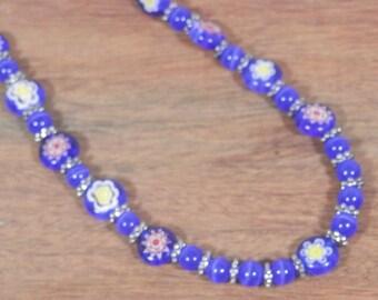 """SALE 25% off! Blue Millefiori Glass Necklace, 18"""""""