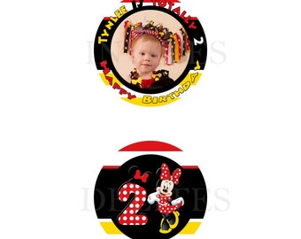 Minnie Mouse Jumbo 3 inch Cupcake Topper Front and Back Contact me for color font wording character theme etc changes