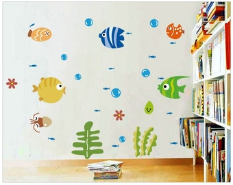 Vinyl Wall Sticker Decal with Fish Bubble For Bedroom  & Bathroom kids, Daycare and Nursery ,Home Decor DIY