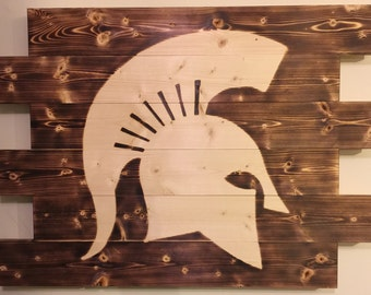 Michigan State Spartan football man cave wood sign